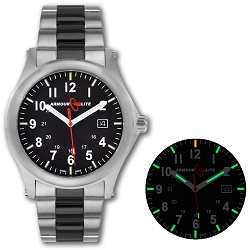 ArmourLite Field Series AL101-BLK Swiss Made Tritium Illuminated Watch with Shatterproof Armourglass